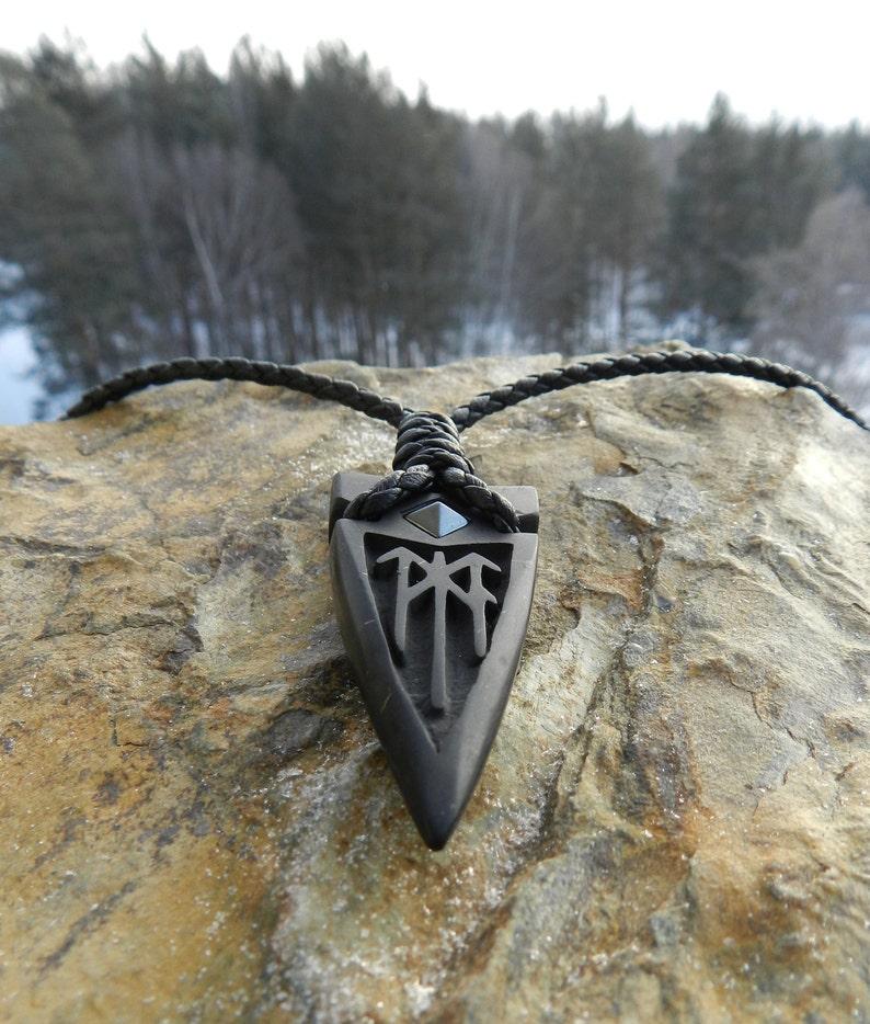Odin Spear Head Gugnir Stone carving Shungite