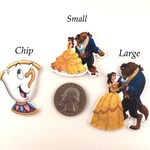 Set of 4 Beauty and the Beast Flat Back Resins, *hair bow centers, Belle and Beast, Teacup 'Chip' from the movie Beauty and the Beast