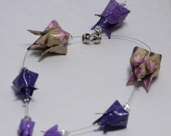 Purple tulips origami necklace