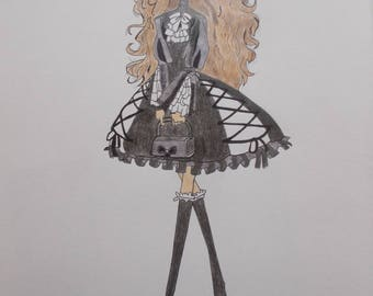 Gothic lolita drawing in colored pencil