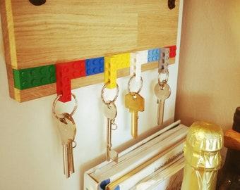 A Solid Oak Made With Original Lego Pieces Key Hanger   Lego Key Holder    Unique Gift   Home Decor   Lego Fan  Organizer Wall Key Rack