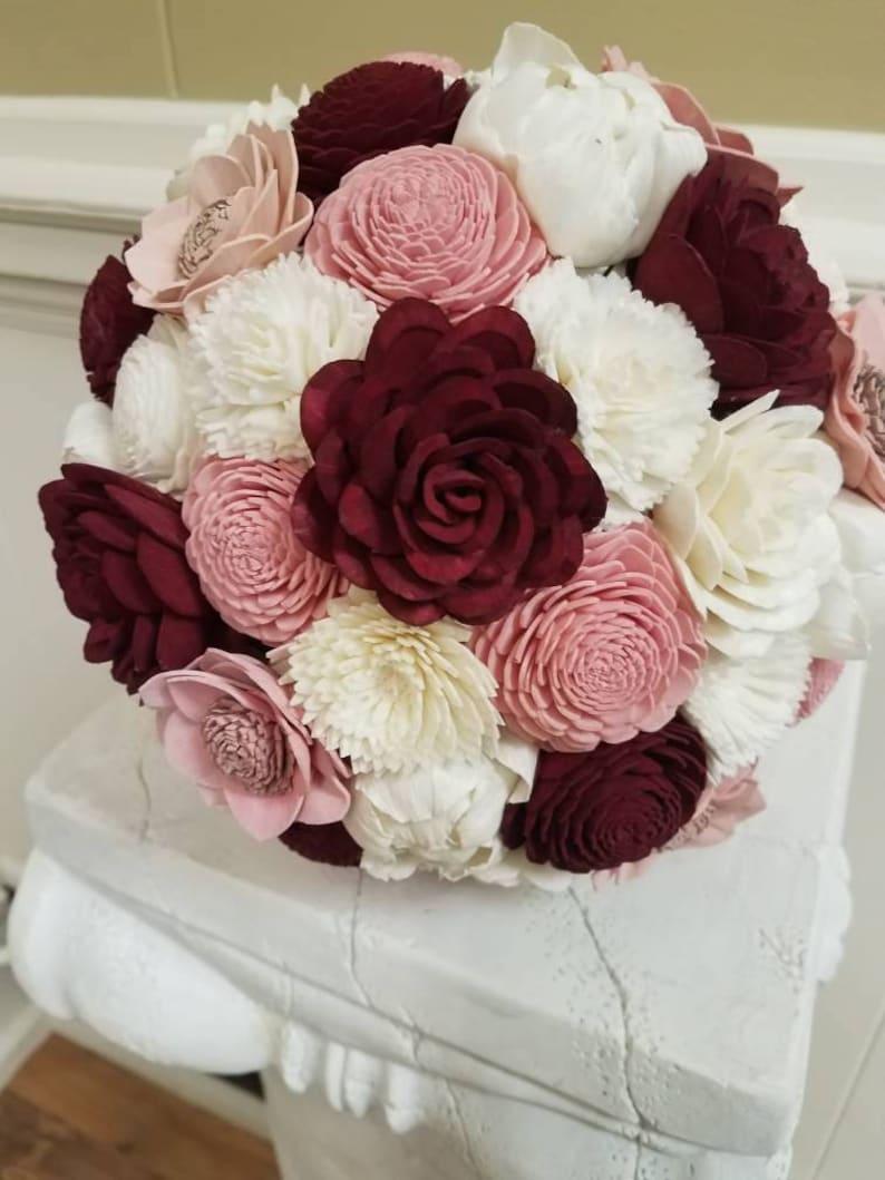 Burgundy and Blush Large Sola Wood Bridal Bouquet