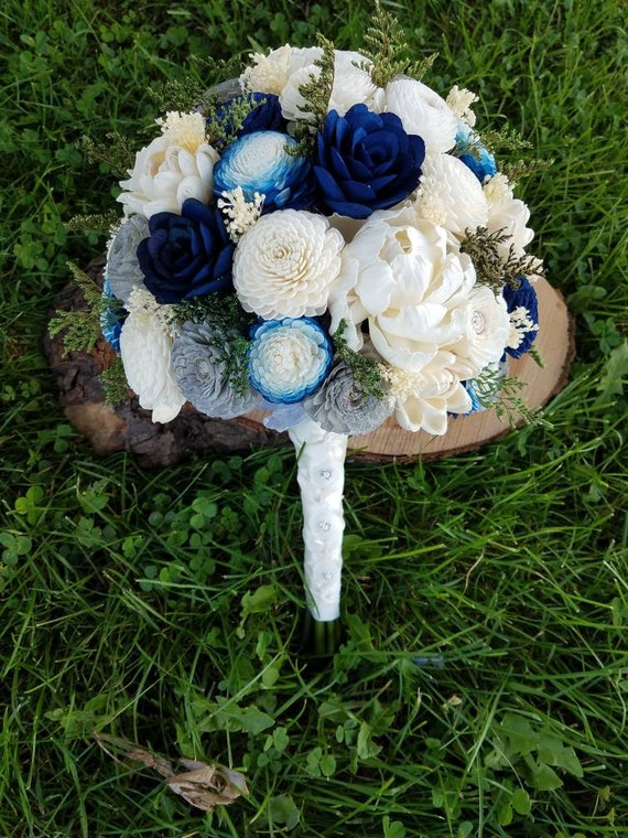 Navy Blue Gray And Ivory Bouquet Sola Wood Bouquet Wood Etsy