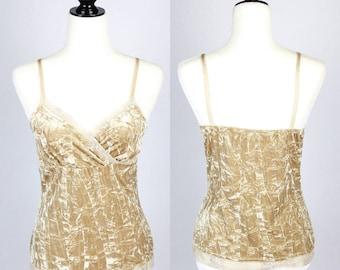 9745e8f78ccc1 90 s Gold Crackled Velvet Tank Vintage Retro Clothing Unique 50 s 60 s 70 s  80 s
