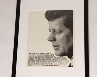60's JFK United Way Campaign Charity Community Framed Art Advertisement Ad Memorabilia Collectible