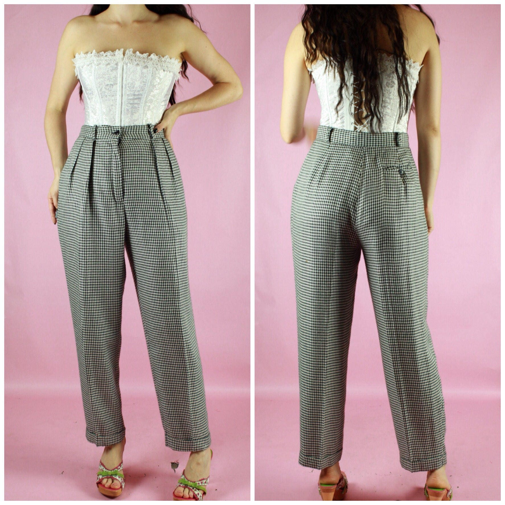 Vintage 70s 80s Jade Workwear Houndstooth Trousers