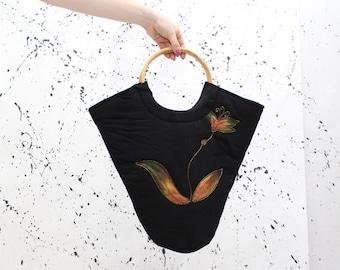 90's Black Floral Beaded Cotton Handbag Retro Vintage Purse Bag Print Summer Spring Purses Handbags Bags Wooden Handle