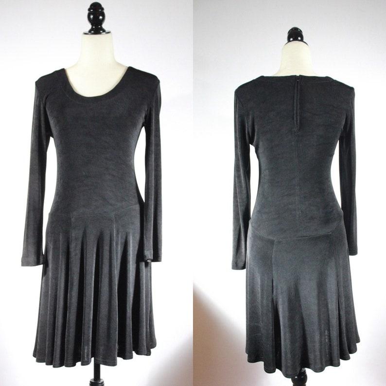 90er Jahre schwarz Jersey Langarm Skater Kleid Swing Rock ...
