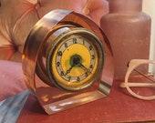 Rare Art Deco Pink Lucite Clock