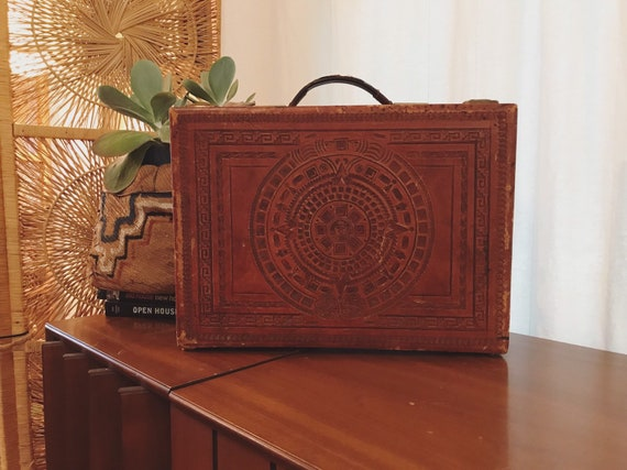 1970s tooled leather briefcase