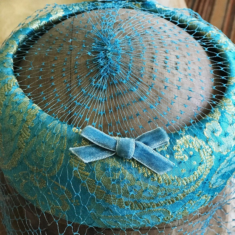 Blue Pillbox hat with veil Jackie Kennedy hat