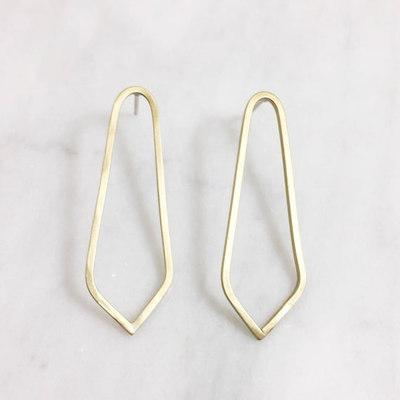 Long Geometric Post Earrings