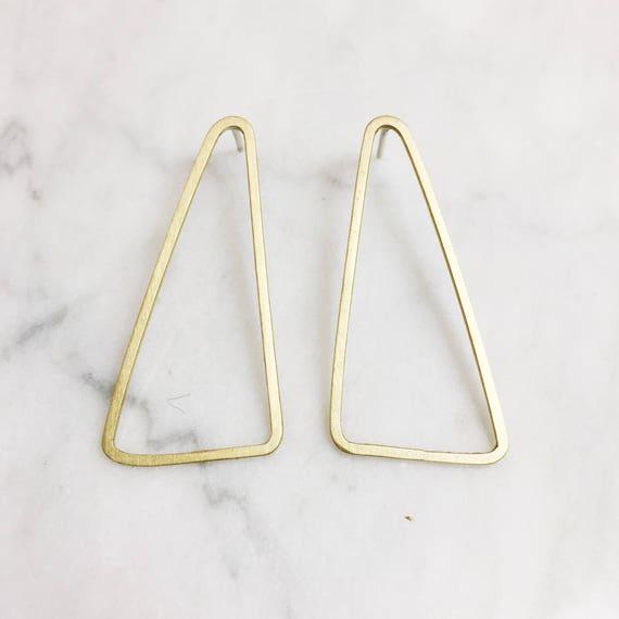 Long Geometric Post Earrings