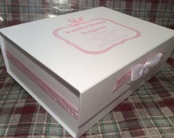 Extra Large, Personalised, Memory, Keepsake Box, Baby, Boy, Girl, Blue, Pink, Christening, New Baby, Gift, Present