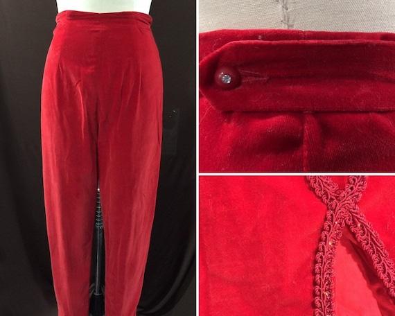Vintage 1950s Lipstick Red Velvet  Cigarette Pants