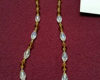 Amber, Bronze and Crystal Beaded Necklace