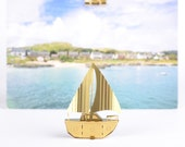 Miniature gold model boat, build your own model kit