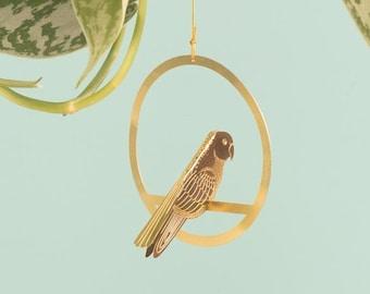 Brass Bird Mobile, Hanging Plant Decoration