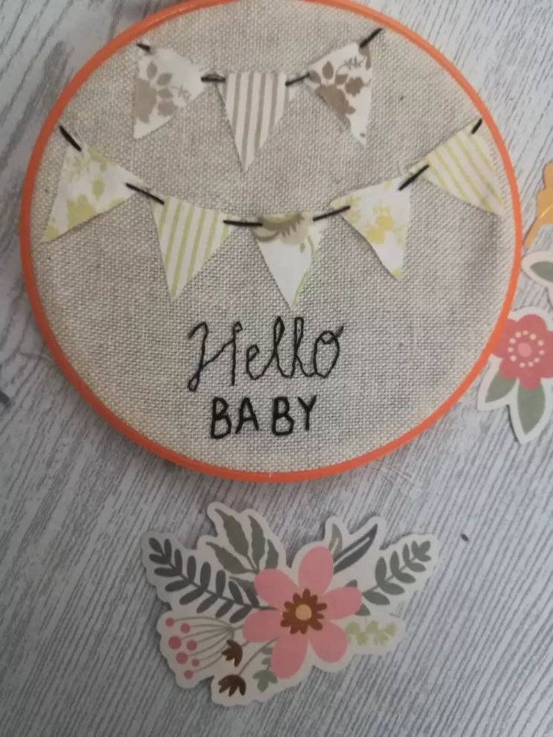 HELLO BABY-Birth frame-baby-frame-embroidery-linen-felt-embroidered frame-