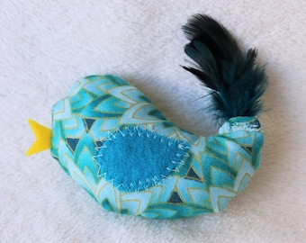 Cat Toy, Bird Cat Toy with Feathers, Crinkle Cat Toy, Organic Catnip, Cat Gift, Cat Lover, Stuffed Cat Toy, Unique