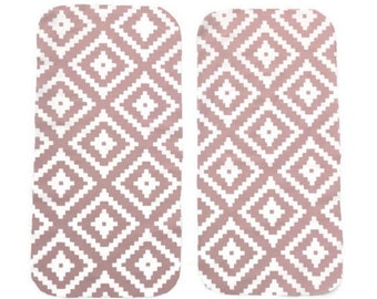 Pink Geometric Burp Cloths (Set of TWO) - Baby Shower Gift Set- Diamond Infant Burping Rags- Breastfeeding Feeding Newborn Girls Gift