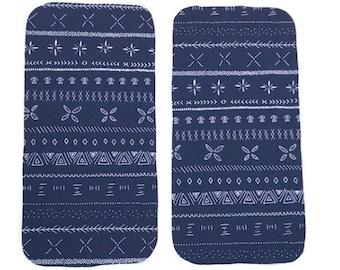 Navy Geometric Burp Cloths (Set of TWO) - Blue Arrows Baby Shower Gift Set- Tribal Infant Burping Rags- Breastfeeding Feeding Newborn Gift