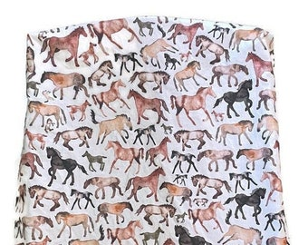 Horses Changing Pad Cover, Brown Horse Diaper Change Pad Cover, Ranch Farm Changing Pad Cover, Cowboy Contoured Changing Cowgirl Nursery