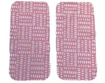 Pink Dots Burp Cloths (Set of TWO) - Pink Dot Baby Shower Gift Set- Blush Pink Infant Burping Rags- Breastfeeding Feeding Newborn Girls Gift