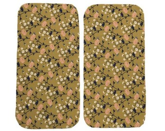 Gold Floral Burp Cloths (Set of TWO) - Baby Shower Gift Set- Navy Flowers Infant Burping Rags- Breastfeeding Feeding Newborn Girls Baby Gift