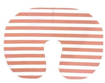 Peach Stripe Nursing Pillow Cover - Peachy Pink Breastfeeding Gift -  Soft Cotton Minky Slipcover -Girls Chic Minky Nursery Bedding Set