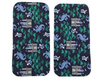 Dragon Burp Cloths (Set of TWO) - Royal Castle Baby Shower Gift Set- Infant Burping Rags-  Navy Breastfeeding Feeding Newborn Neutral Gift