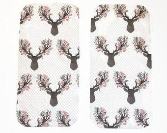 Pink Floral Deer Burp Cloths (Set of TWO) - Baby Shower Gift Set- Flower Deer Infant Burping Rags- Breastfeeding Feeding Newborn Girls Gift