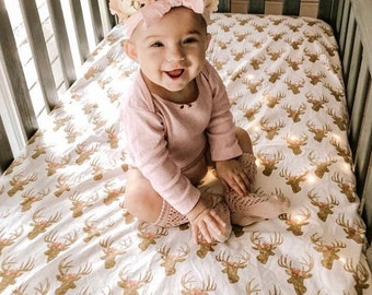 Deer Fitted Crib Sheets Girls Baby Bedding Gold Floral Antlers Toddler Bedding - Glitz Rose Fawn Woodland Nursery Pink Gold Baby Shower Gift