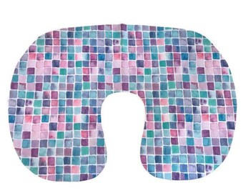 Pink Teal Nursing Pillow Cover - Girls Watercolor Nursery Bedding Set-  Soft Cotton Minky Cover - Purple Blue Slipcover -Breastfeeding Gifts