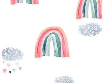 Rainbow Baby Changing Pad Cover -Rain Cloud Change Pad Cover - Boho Girls Pink Baby Shower Chic Nursery Bedding - Blue Fitted Crib Sheet