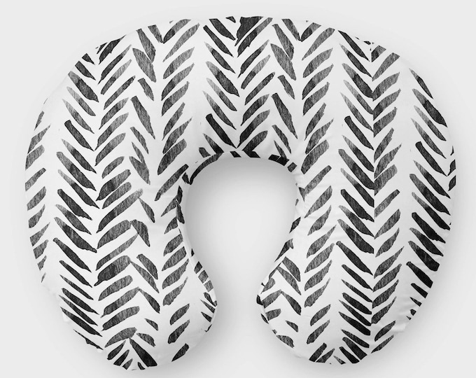 Featured listing image: Nursing Pillow Cover - Tribal Nursery Cover - Breastfeeding Tribal Cover -  Modern Minky Cover - Infant Monochrome Baby Black Slipcover