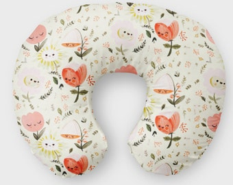 Pink Floral Nursing Pillow Cover for