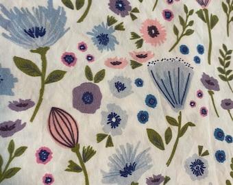 Dusty Blue Floral Rose Fitted Crib Sheet- Girls Baby Bedding - Boho Flowers Crib set- Bohemian Garden Sheet - Toddler Bedding Nursery