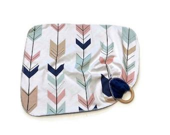 Navy Arrows Baby Lovey - Pink Mint Arrow Lovie - Blush Newborn Receiving Blanket- Teal Infant Girls Baby Shower Gift Wooden Baby teether