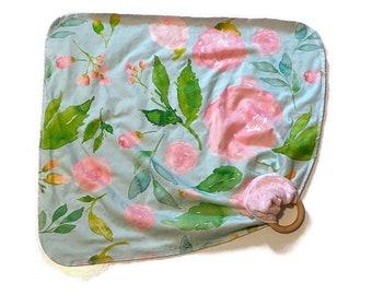 Pink Blue Floral Baby Lovey - Large Blush Floral Lovie Blanket - flowers Newborn Receiving Blanket- Infant Girls Pink Baby Leaves teether
