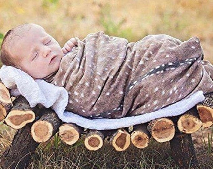 Featured listing image: Deer Swaddle Blanket - Woodland Fawn Baby Shower Gift - Buck Hunting Swaddle Blanket - Hospital Blanket - Baby Newborn Swaddle - Knit