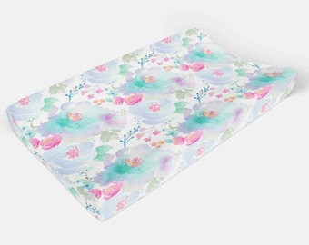Floral Pad Cover - Purple Flowers changing pad cover - Floral Crib Bedding - Floral Nursery - Blue Nursery Baby Girl Fitted Crib Sheet Chic