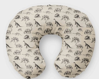 Dino Nursing Pillow Cover for Boys - Monochrome Black & Cream Dinosaur  Slipcover - Nursery Bedding - T Rex Pillow Cover - Minky Tan Fossils