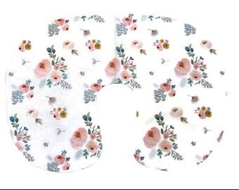 Pink Floral Nursing Pillow Cover for Girls - Pink Blue Modern Rose Slipcover - Flowers Nursing Cover - Floral Pillow Cover - Minky Cover