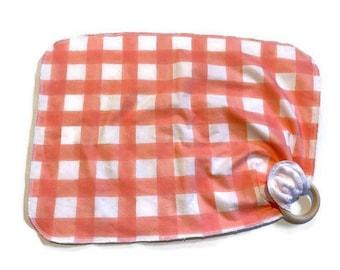 Pink Gingham Baby Lovey - Girls Lovie Blanket - Modern Newborn Receiving Blanket- Infant Blanket Girls Pink Baby teether - Baby shower gift