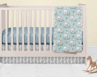 Arctic Fox Nursery Set- Owls Fitted Crib Sheet- Minky Baby Blanket- Crib Skirt-  Rail Guard Cover- Changing Pad Cover  Grey Woodland