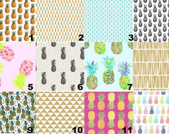 Pineapple Decor - Girls Tropical Nursery Bedding - Fitted crib sheet, nursing pillow cover - Crib Skirt - Changing Pad Cover - Newborn Gift