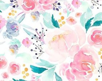 Pink Floral Nursing Pillow Cover for Girls - Blue Watercolor Rose Breastfeeding Pillow Slipcover - Teal Flowers Girls Nursery Minky Cover