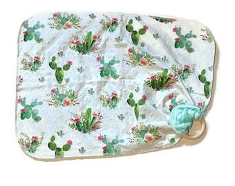 Cactus Baby Lovey - Desert Rose Succulent Lovie Blanket - Green floral Cacti Newborn Receiving Blanket- Infant Blanket Girls Baby teether