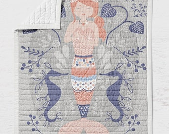 Mermaid Baby Quilt - Beachy Crib Quilt - Sea Toddler Bedding - Infant Beach Baby Shower Gift- Ocean Nursery - Wholecloth Quilt- Ocean Throw